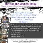 Film showing Beyond the Medical Model - 9th Oct 2014
