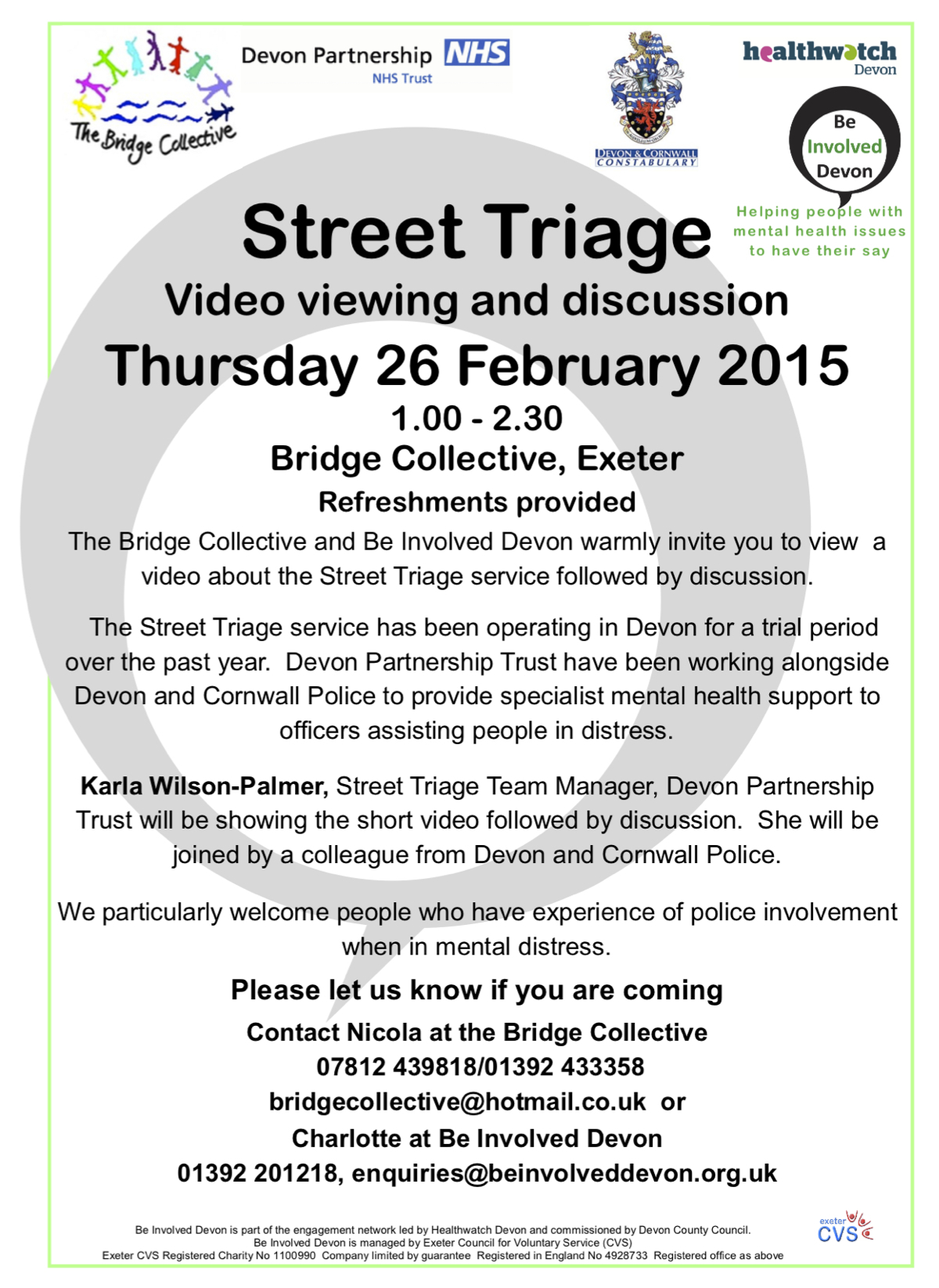 26.2.15 Street Triage meeting, Bridge Collective